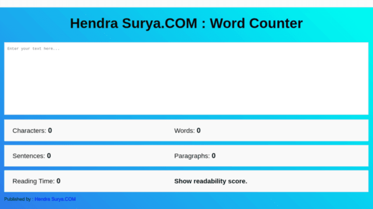 Word Counter Basis HTML