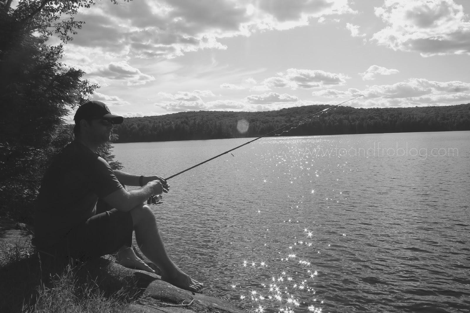 fishing in algonquin provincial park, ontario canada