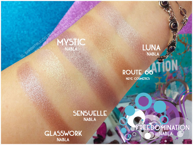 Mystic comparazioni nabla cosmetics freedomination collection summer eyeshadow