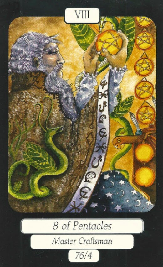 Eight of Pentacles, Louisa Poole, MerryDay Tarot, 76