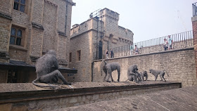 Model monkeys at the Tower of London