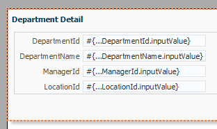 Drop Departments ViewObject as ADF Form in Popup Dialog