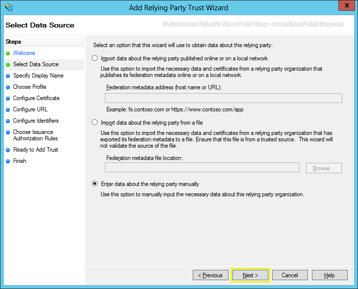 Installing and Configuring ADFS Integration with SharePoint 2013