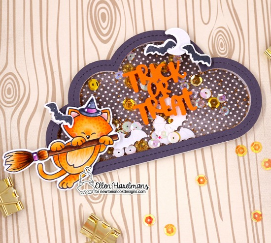 Halloween Shaker card by Ellen Haxelmans | Newton's Boo-tiful Night Stamp Set and Halloween Trio Die Set by Newton's Nook Designs
