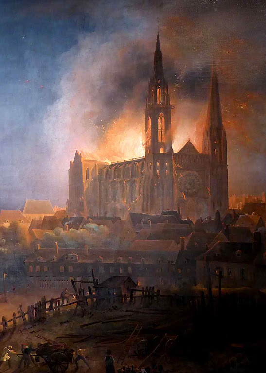 Detalhe de: Incêndio da catedral de Chartres. No século XII. François Alexandre Pernot (1793-1865). Musée des Beaux-Arts de Chartres