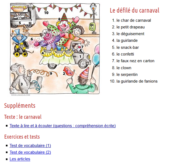 https://francais.lingolia.com/fr/vocabulaire/jours-de-fetes/le-carnaval