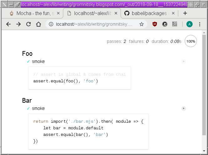 Alex Gromnitsky's blog: 3 Ways to Use ES6 Modules with Mocha