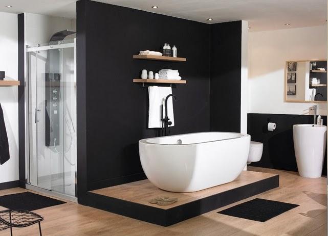 D co black white n 2 la salle de bains for Salle de bain vert et noir