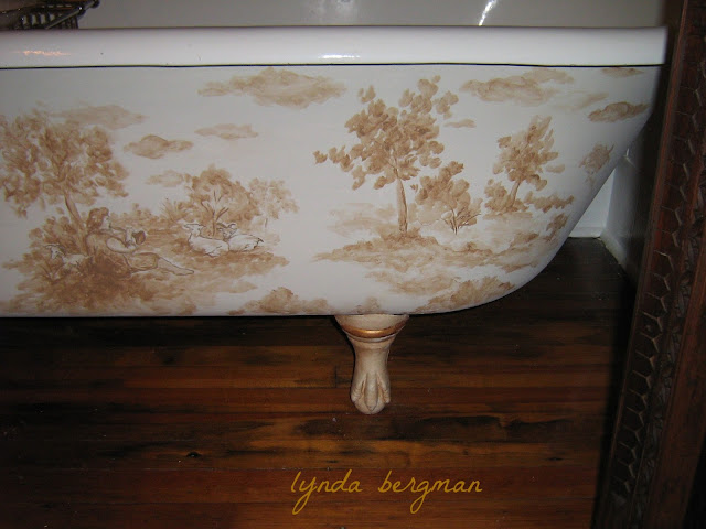 Lynda bergman decorative artisan hand painted trompe l 39 oeil clothesline in a laundry room - Painting clawfoot tub exterior paint ...