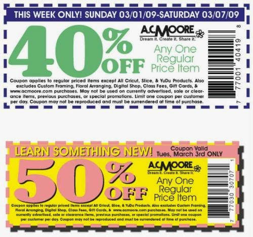graphic regarding Ac Moore Coupon Printable named Ac moore printable coupon april 2018 - Fjerne very hot specials fra laptop or computer