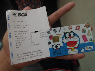 Kartu Flazz Doraemon dan Struk Top Up Flazz
