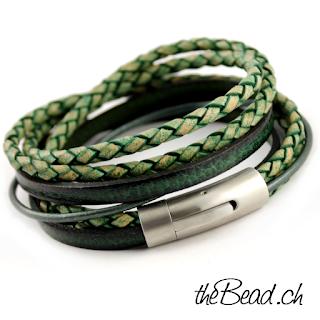 vintage series green herrenarmband und lederarmbänder sowie wickelarmbänder von thebead