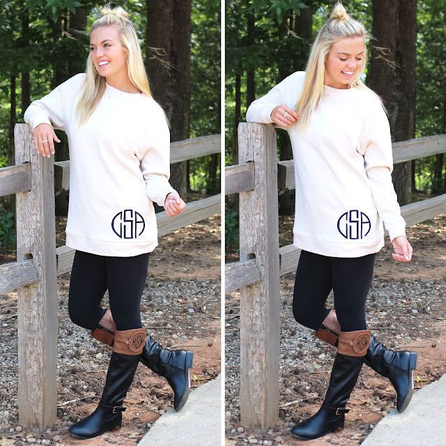 monogrammed sweatshirt tunic