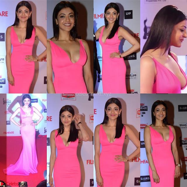 Kajal Aggarwal in Pink Deep neck Gown ~ .jpg