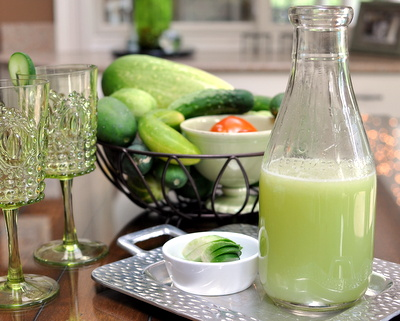 Cucumber Lemonade @ AVeggieVenture.com, a simple, refreshing summer drink. A great way to use giant cucumbers from the garden.