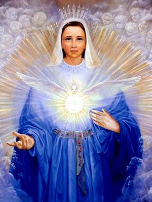 La Virgen Maria, Delante de ella El Espiritu Santo en Forma de Paloma Radiante