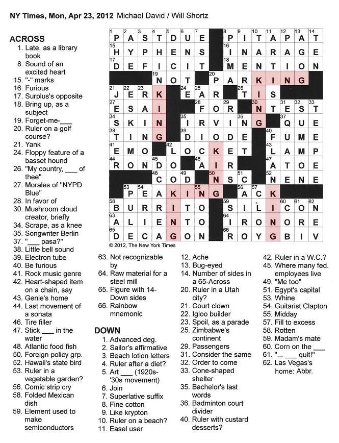 The New York Times Crossword in Gothic: 04.23.12 — King