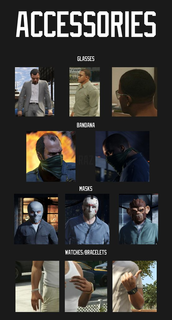 GTA V Character Customization Accessories