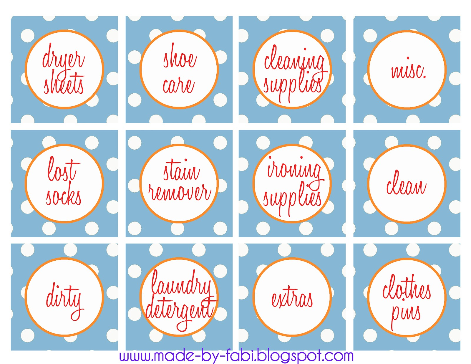 Laundry Room Labels