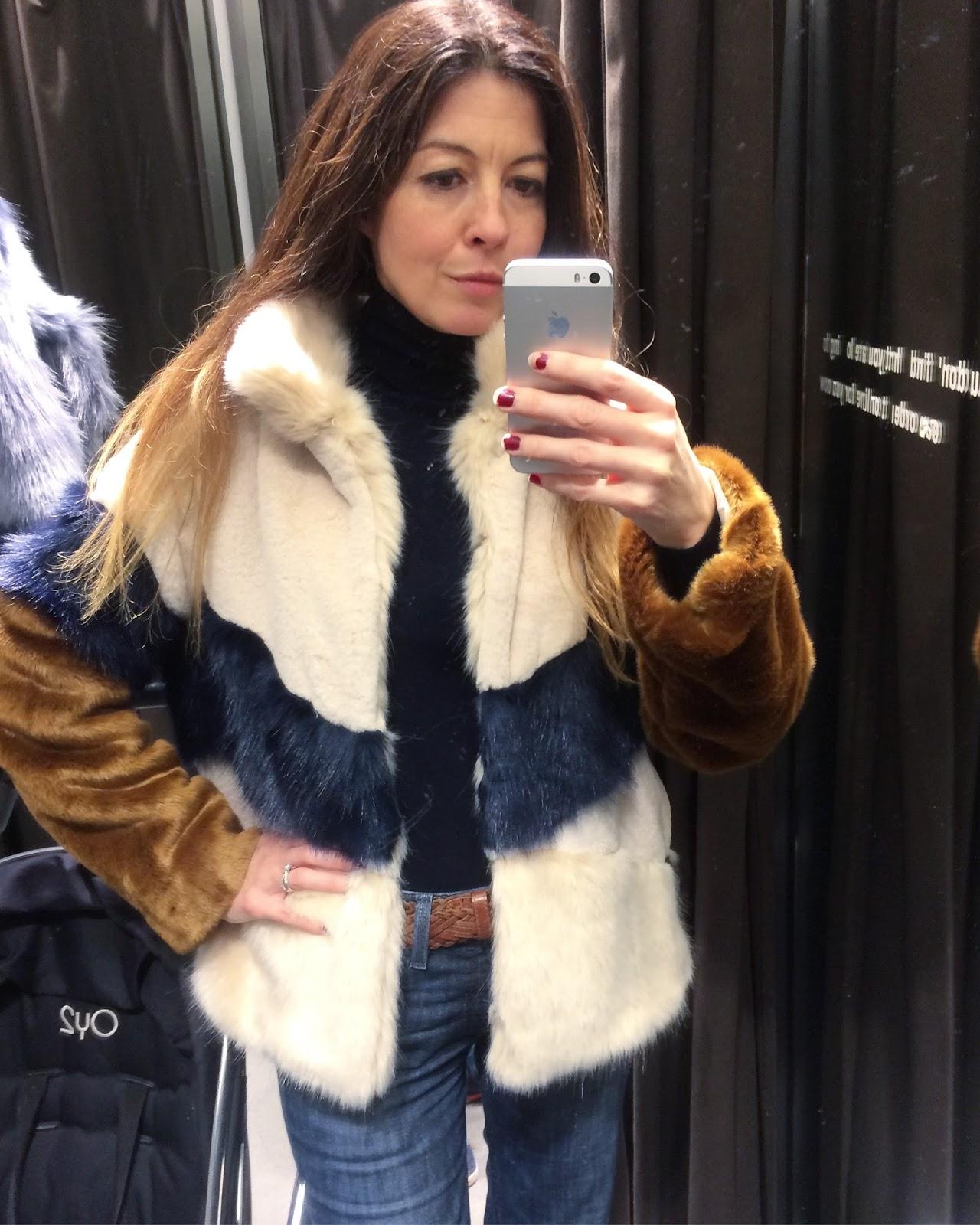 34c47a01 Both faux fur coats - Zara. Jeans - Levis. Purple boots - Zara