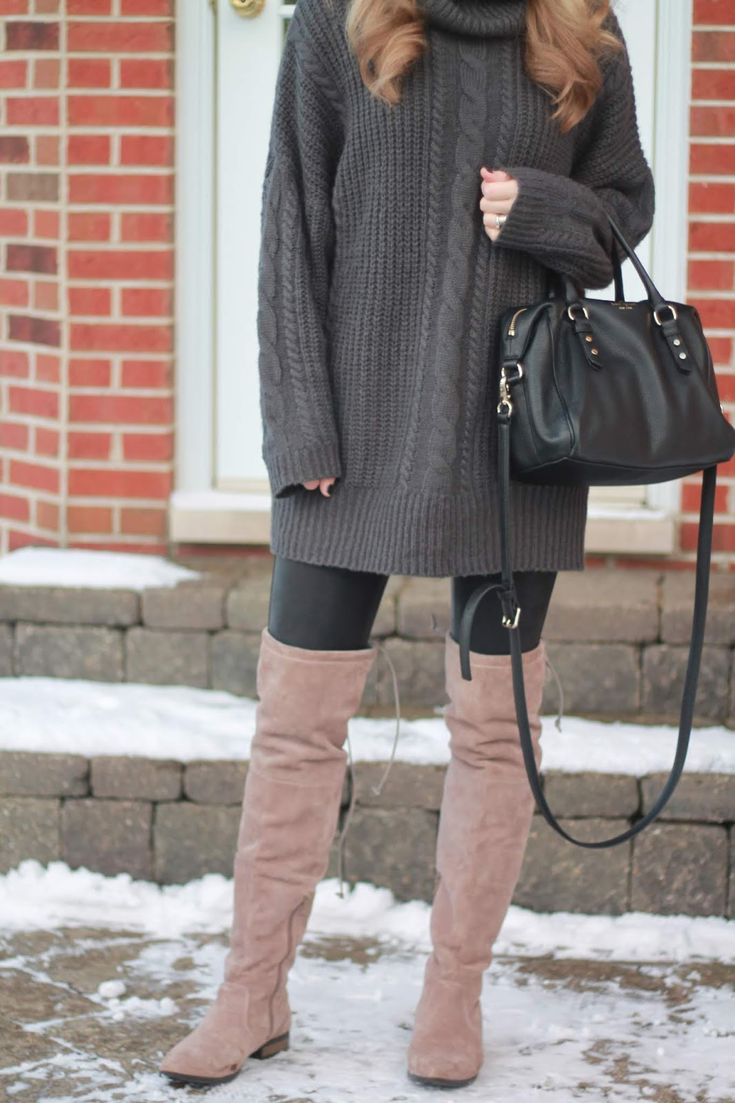 Grey turtleneck sweater tunic, black leather leggings, OTK taupe boots, black kate spade crossbody, sunshine blogger award