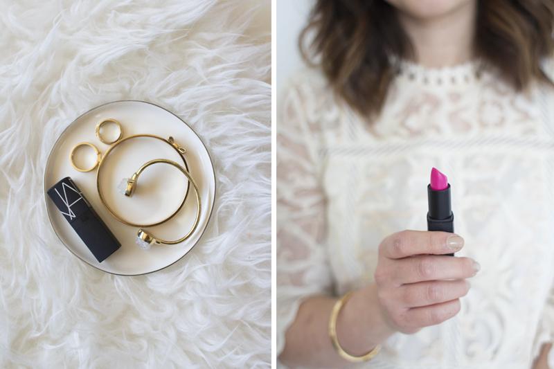 NARS lipstick & gold jewelry