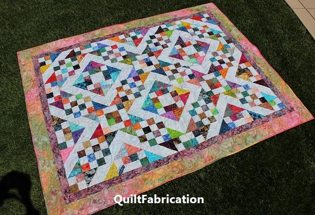 Batik Scrap quilt flat