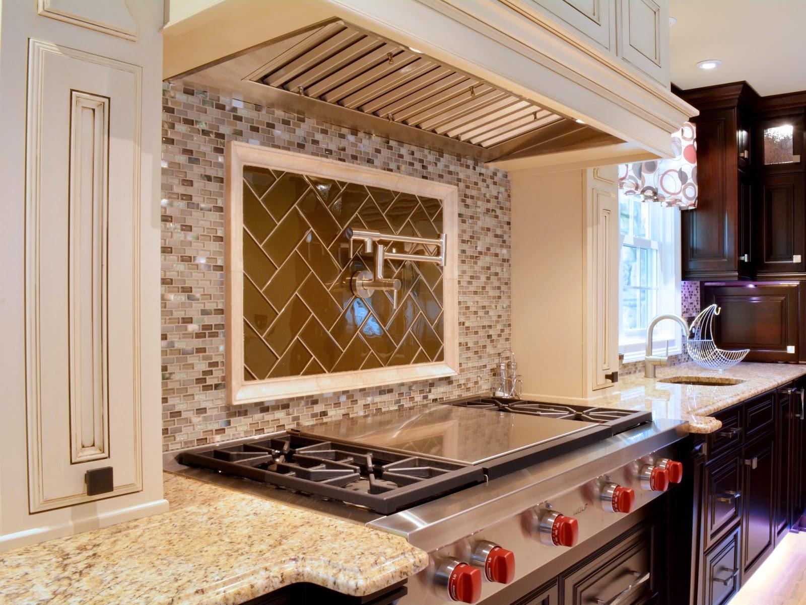 An Inset Tile Frame With Gl Herringbone Pattern Frames The Stainless Steel Pot Filler And Provides Elegant Detail For Range Top Backsplash
