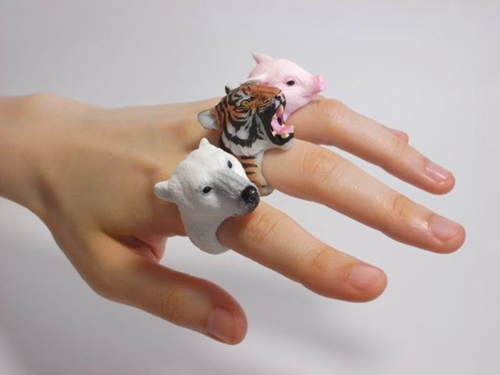 Finger Rings in the form of Animals by Jiro Miura