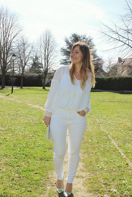 Total look blanc, blouse zara les petites bulles de ma vie