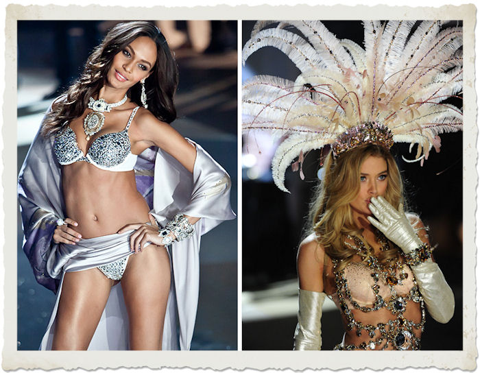 Joan Smalls e Doutzen Kroes nella sfilata in lingerie al Victoria's Secret Fashion Show
