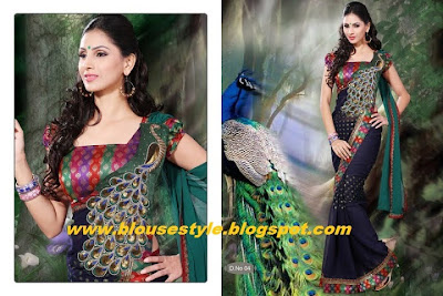 latest new designs saree with blouse