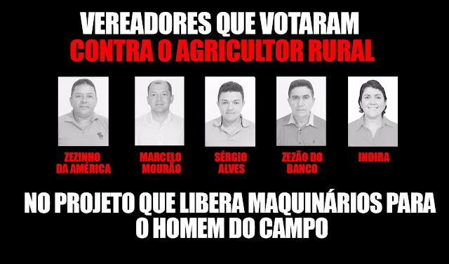 Vereadores de oposição votam contra projeto que beneficia  agricultores de Ipueiras
