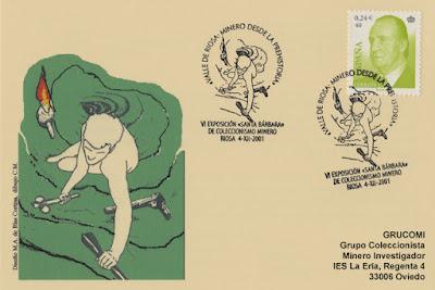 Tarjeta del matasellos de Grucomi al Valle de Riosa: Minero desde la Prehistoria