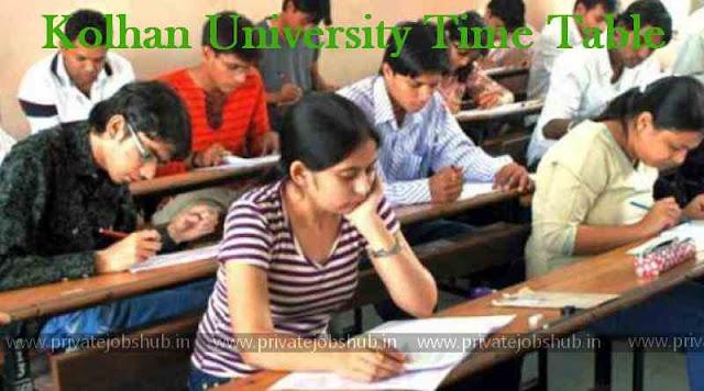 Kolhan University Time Table