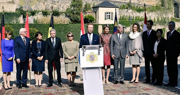 Queen Mathilde, Grand Duchess Maria Teresa and Hereditary Princess Sophie attend meeting at Neumunster Abbey in Luxembourg