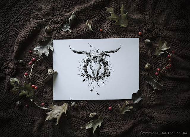 Aker Dantzaria Ink Design He-Goat Skull Wreath Pagan Horned God Akerbeltz by Victoria Francés