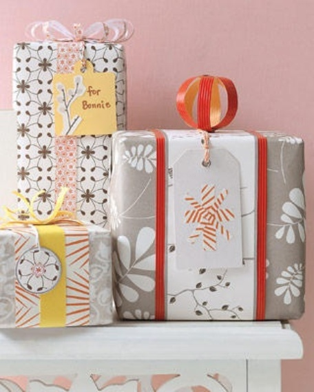 colorful neutral, yellow and orange Christmas gift wrapping
