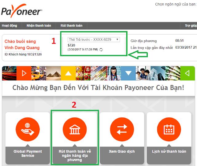Hướng dẫn rút tiền từ Payoneer về thẻ ATM (Ngân hàng địa phương)