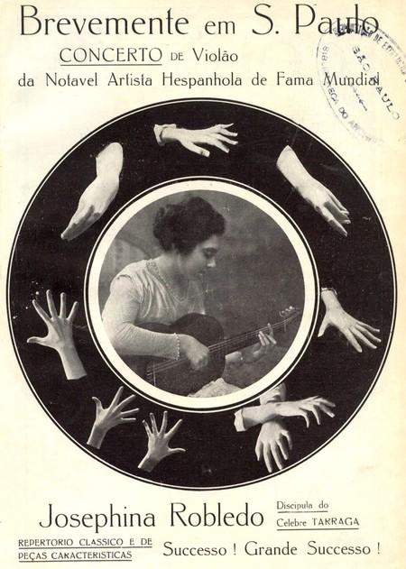 Cartaz que promovia a artista espanhola Josefina Robledo, em São Paulo