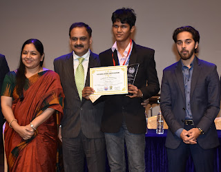 L to R - Deepa Shetty - Principal - GBMS, Shri Vivek Phansalkar- Additional Director General, ACB, Bhavya Shah - Best Delegate JCC 2017, Nirvaan Birla - Head of Business Development - Birla Edutech-