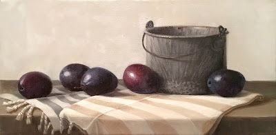plums, vintage bucket, spatter-ware