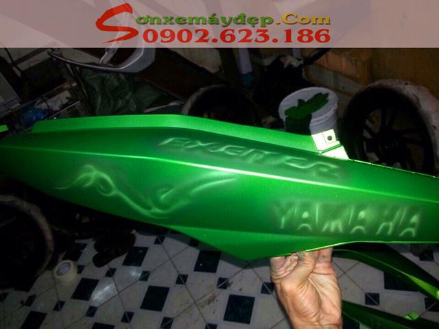 Sơn tem 3D xe Exciter 150 màu xanh Z1000