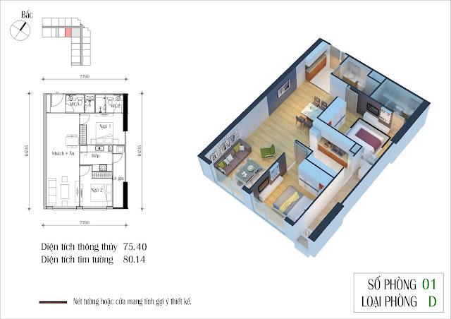 Thiết kế căn 01 tòa CT2 Eco Green City