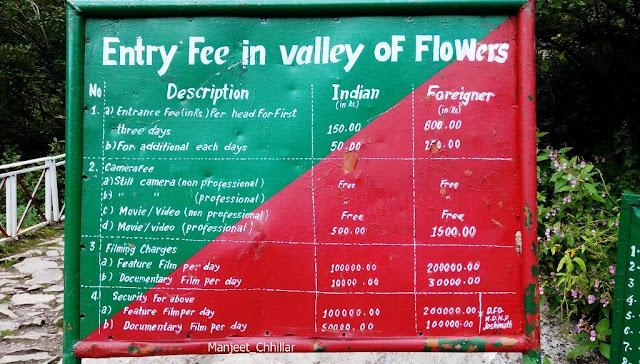 Fees in Valley of Flowers