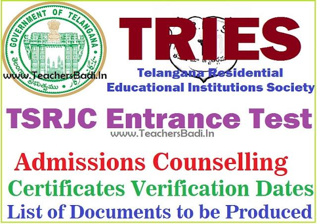 TSRJC CET,Admissions counselling,Certificates verification dates