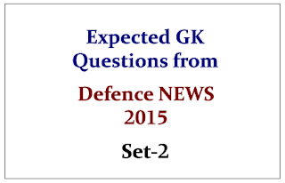 Expected GK Questions from Defence NEWS 2015 Set-2