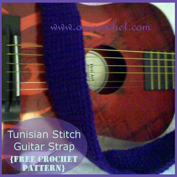 Crochet, Free Crochet Pattern, Tunisian Stitch, Guitar Strap, Tunisian Stitch Guitar Strap,