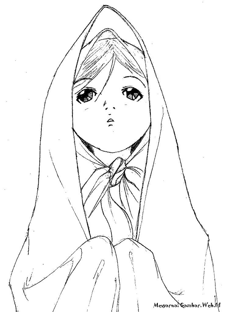 Gambar Kartun Wanita Muslimah Berdoa Kolek Gambar