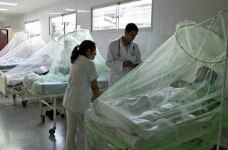 Under mosquito nets, young patients are treated for dengue fever at a hospital in Paraguay. Limiting global warming could avoid millions of new cases each year, research shows. (Credit: Norberto Duarte/AFP/Getty Images) Click to Enlarge.
